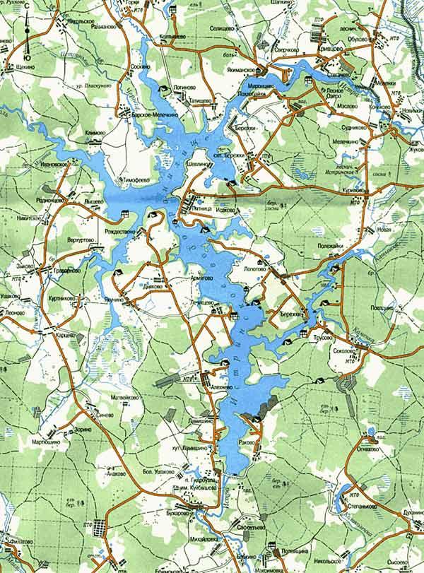 места для рыбалки на истринском водохранилище карта